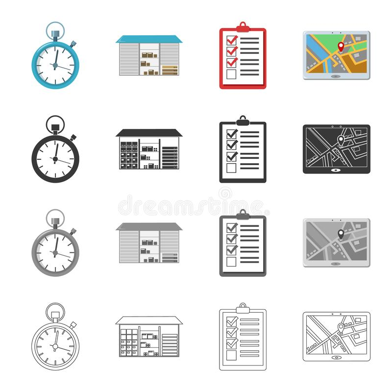 Equipamento, atributos, correio e o outro ícone da Web no estilo dos desenhos animados Entrega, pacote, armazém, ícones na coleçã ilustração do vetor