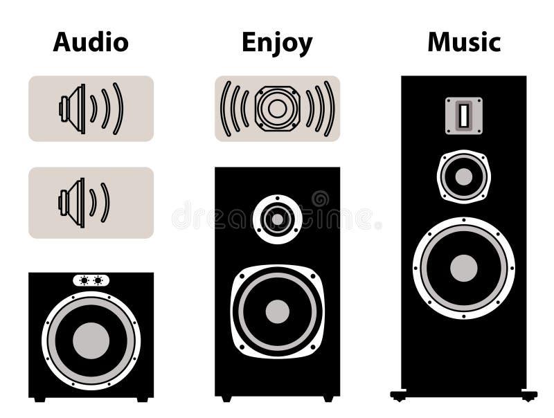 Equipamento audio com símbolo do volume Orador e motorista do orador ilustração do vetor