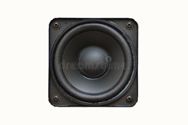 Equipamento audio, orador empoeirado quadrado isolado no fundo branco imagens de stock
