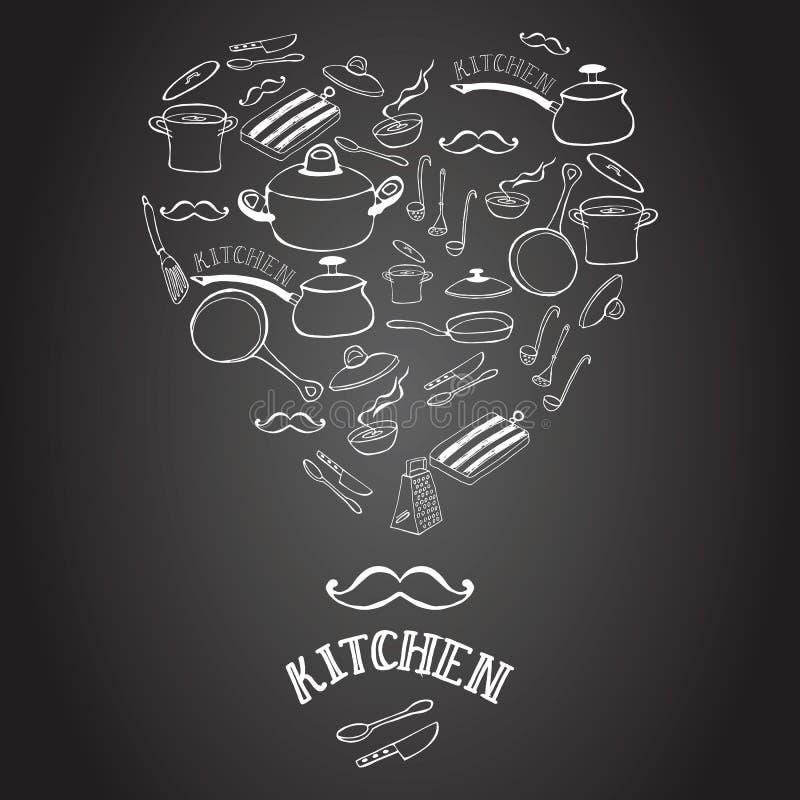 Equipamento bonito da cozinha no quadro-negro ilustração stock