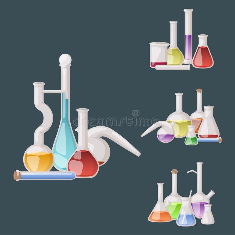 Equipamento científico médico dos tubos líquidos químicos da análise da biotecnologia do tubo dos produtos vidreiros de laboratór ilustração royalty free