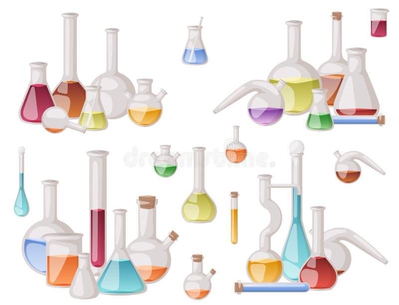 Equipamento científico médico dos tubos líquidos químicos da análise da biotecnologia do tubo dos produtos vidreiros de laboratór ilustração do vetor