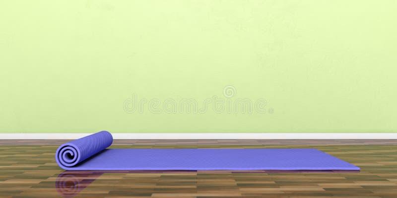 Equipamento da classe da ioga Exercite a esteira no assoalho de madeira, bandeira, espaço da cópia ilustração 3D ilustração stock