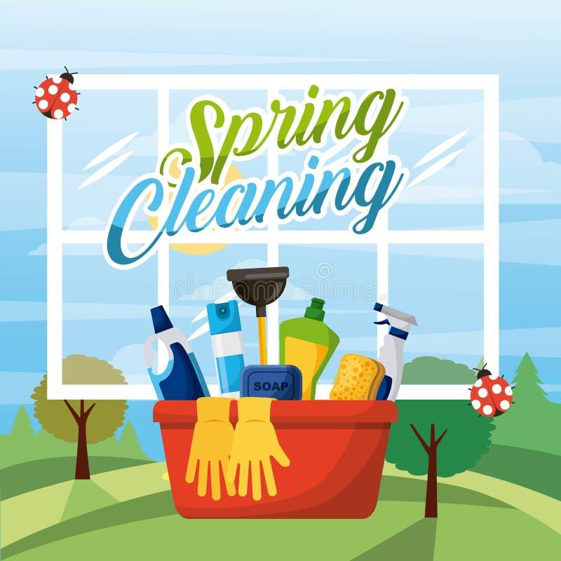 Equipamento da cubeta da limpeza da primavera com janela e fundo da paisagem ilustração stock