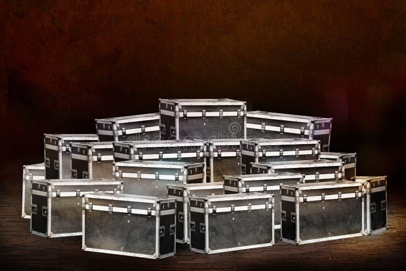 Equipamento da fase das caixas para um concerto foto de stock