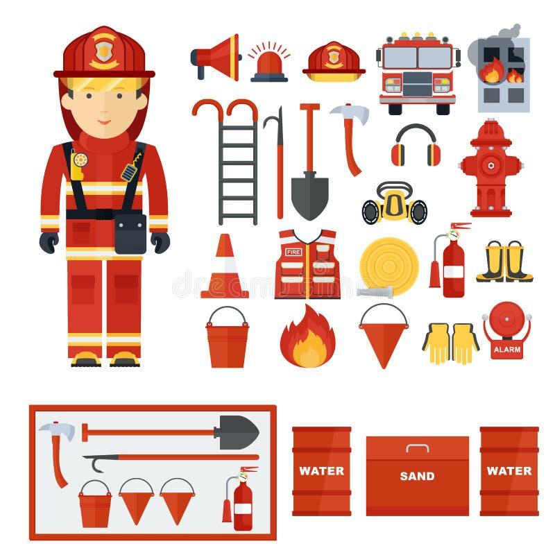 Equipamento da luta contra o incêndio do bombeiro ilustração do vetor