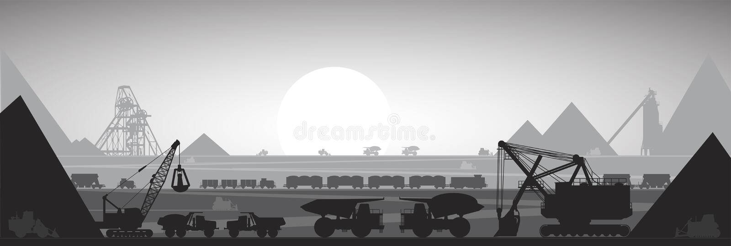 Equipamento da pedreira da mineração, ilustração ilustração royalty free