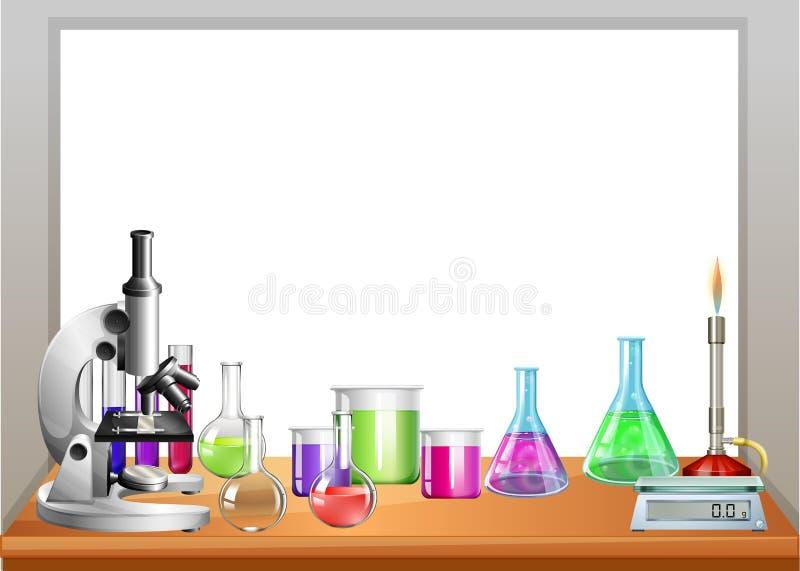 Equipamento da química na tabela ilustração stock