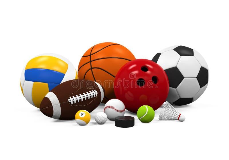 Equipamento das bolas do esporte ilustração do vetor