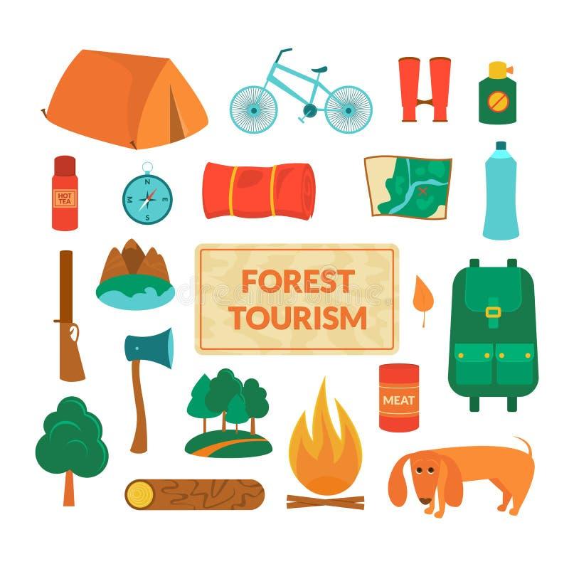 Equipamento de acampamento, ícones do vetor ilustração stock