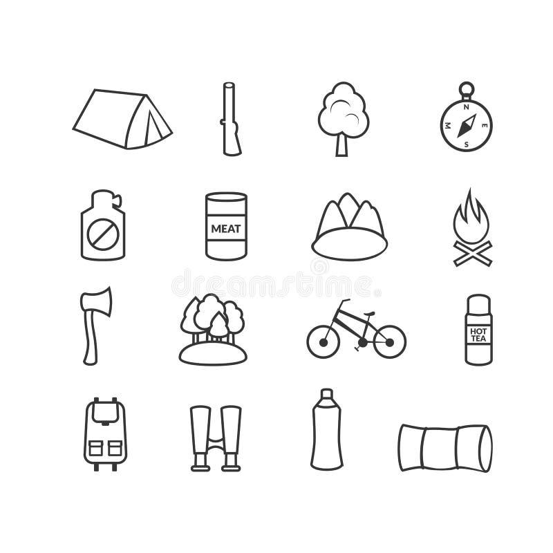 Equipamento de acampamento, ícones do vetor ilustração do vetor