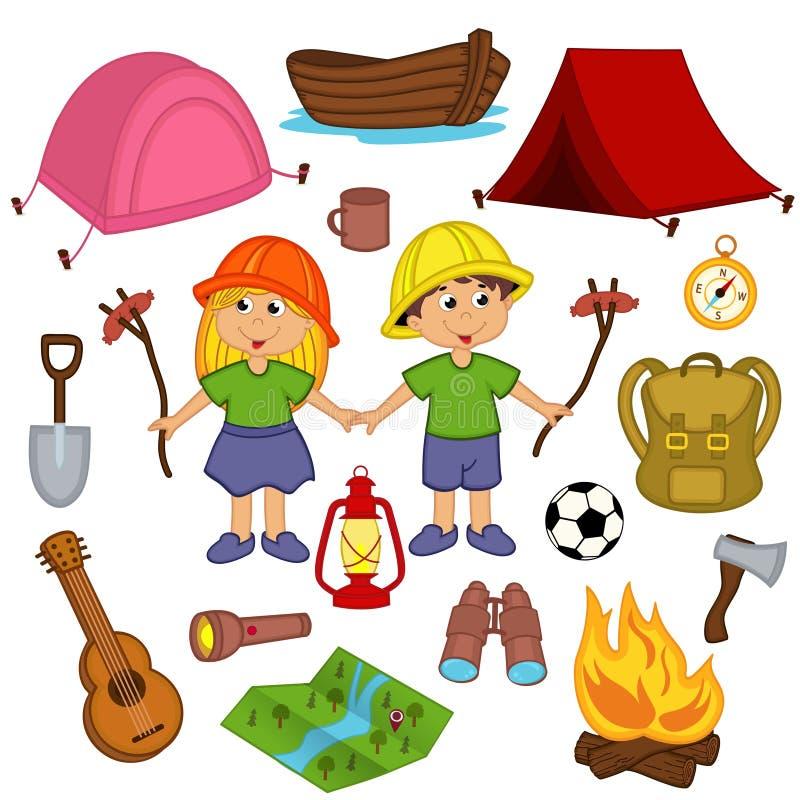 Equipamento de acampamento ajustado ilustração royalty free