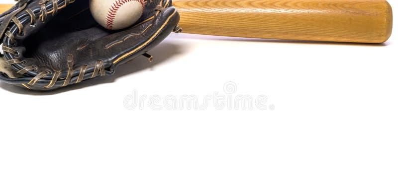 Equipamento de basebol do vintage no fundo branco foto de stock royalty free