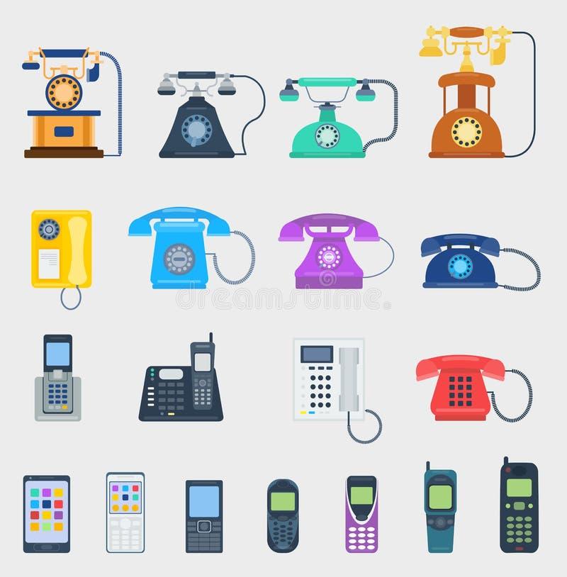 Equipamento de comunicação diferente do projeto dos ícones do vetor dos telefones ilustração do vetor