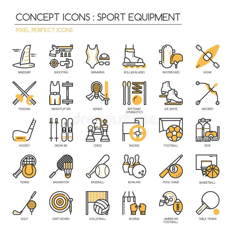 Equipamento de esporte, ícone perfeito do pixel ilustração do vetor