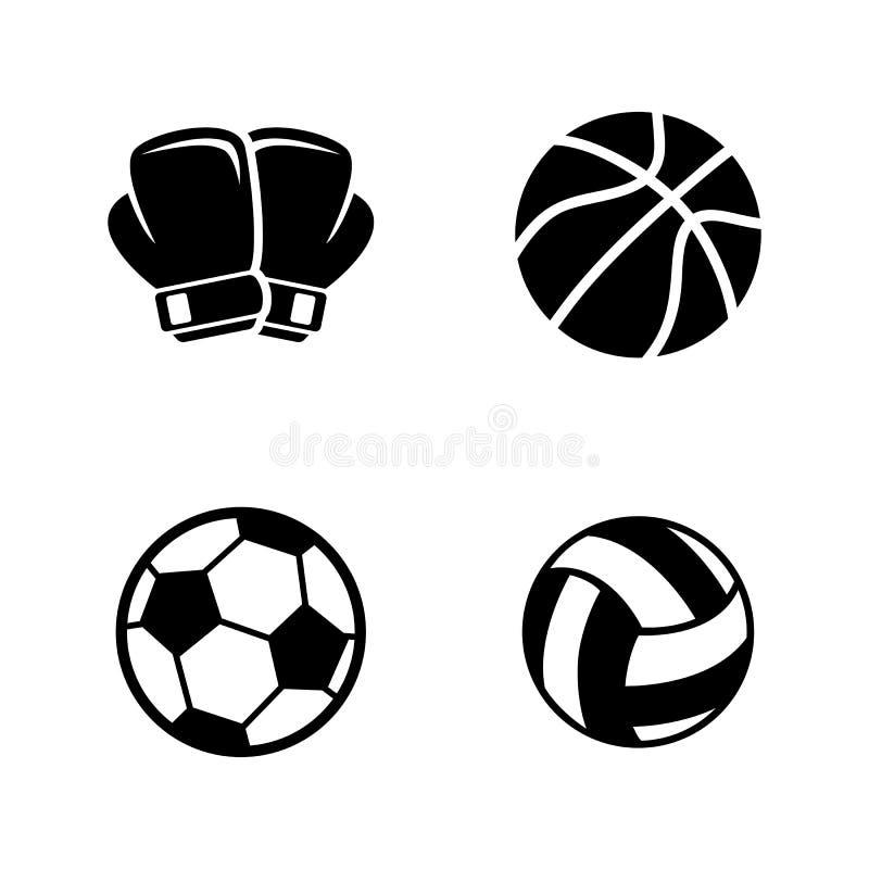 Equipamento de esportes Ícones relacionados simples do vetor ilustração royalty free