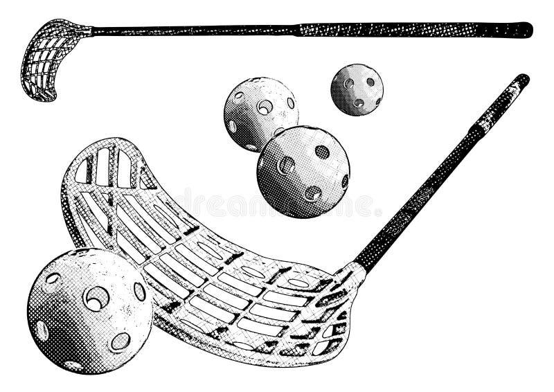 Equipamento de Floorball ilustração royalty free