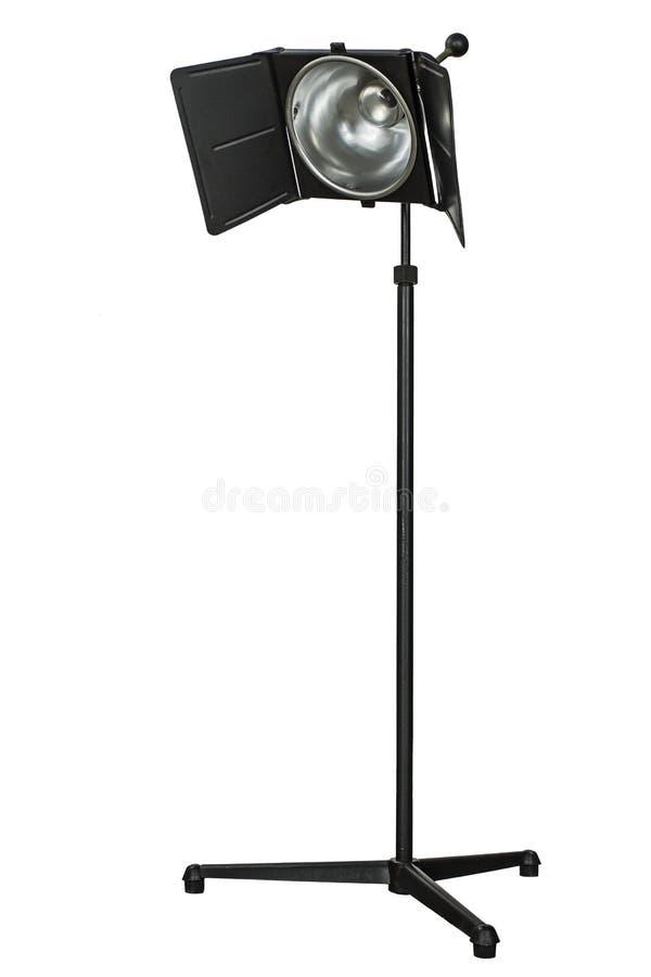 Equipamento de iluminação do estúdio da foto, isolado no fundo branco fotografia de stock royalty free