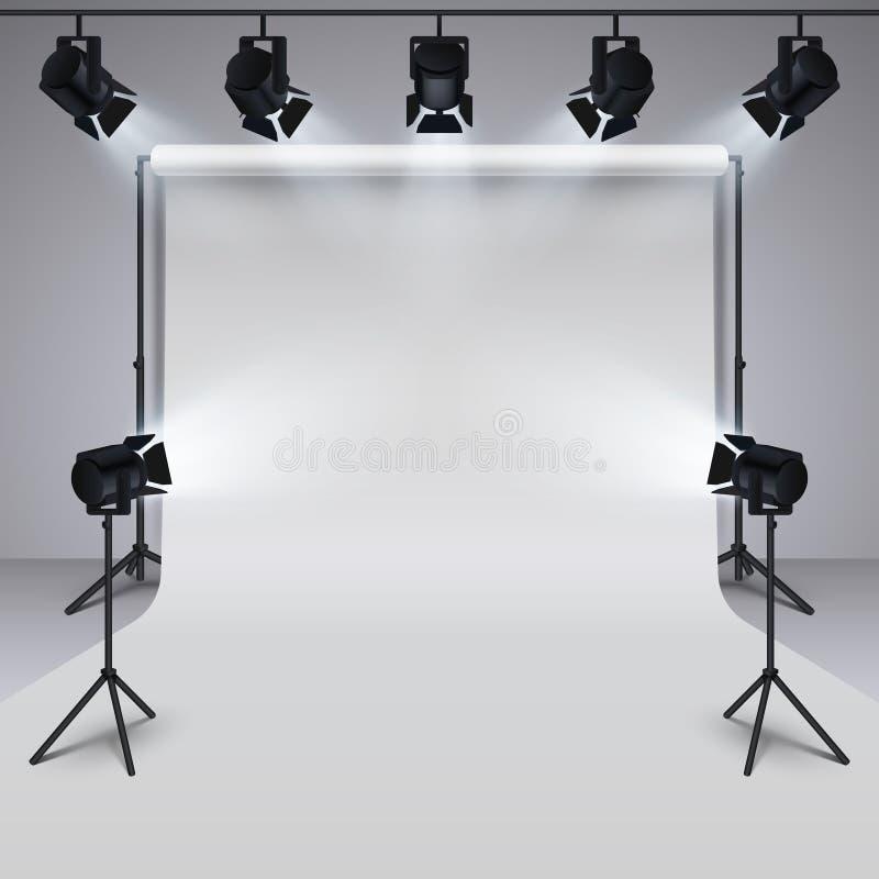 Equipamento de iluminação e fundo vazio branco do estúdio profissional da fotografia ilustração do vetor 3d ilustração stock