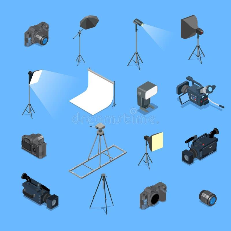 equipamento de iluminação isométrico liso do estúdio da foto 3d ilustração stock