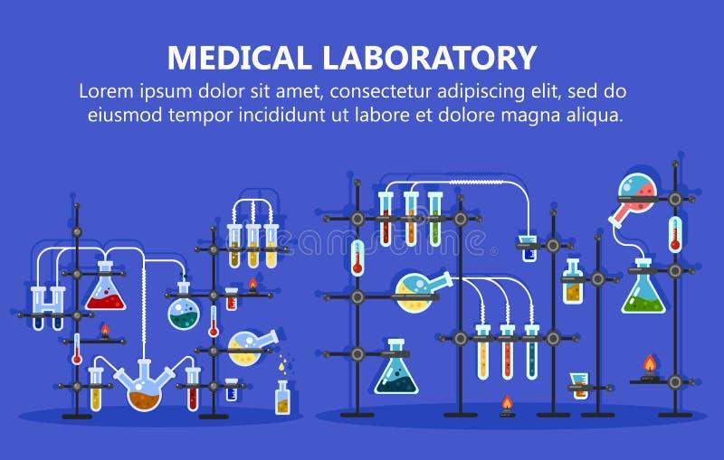 Equipamento de laboratório médico com garrafa de vidro ilustração do vetor