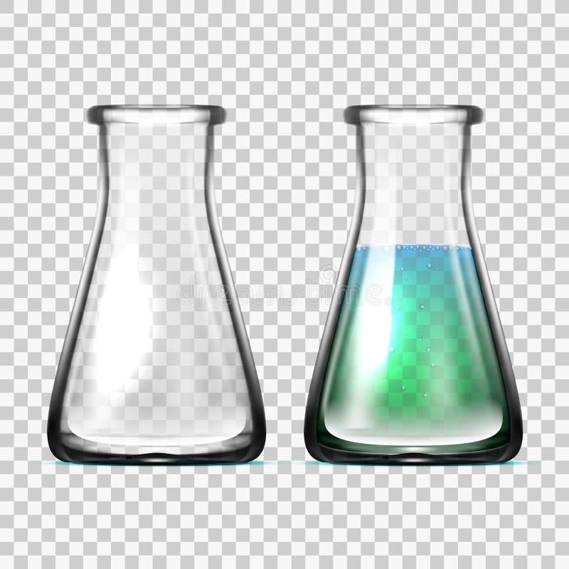 Equipamento de laboratório de vidro realístico Garrafas ou ta?as ilustração stock