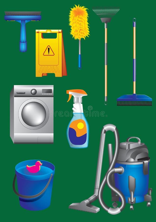 Equipamento de limpeza e coleção realística dos ícones dos acessórios ilustração do vetor