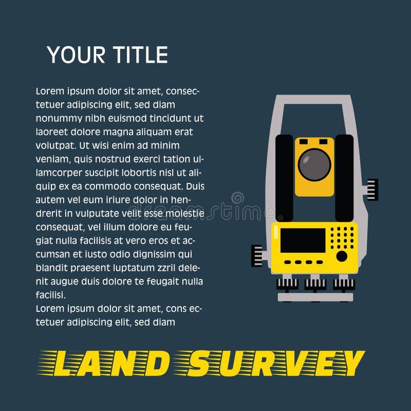 Equipamento de medição geodésico, projetando a tecnologia para a avaliação da terra ilustração royalty free