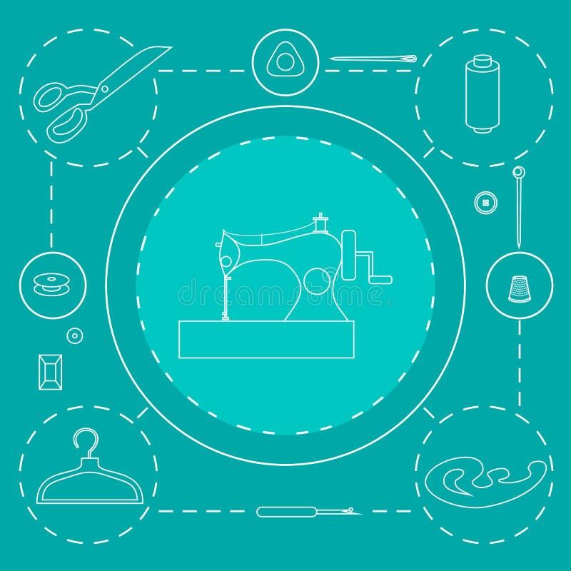 Equipamento de oficina da costura Elementos do projeto da loja do alfaiate do esboço Costurar a costura da indústria utiliza ferr ilustração stock