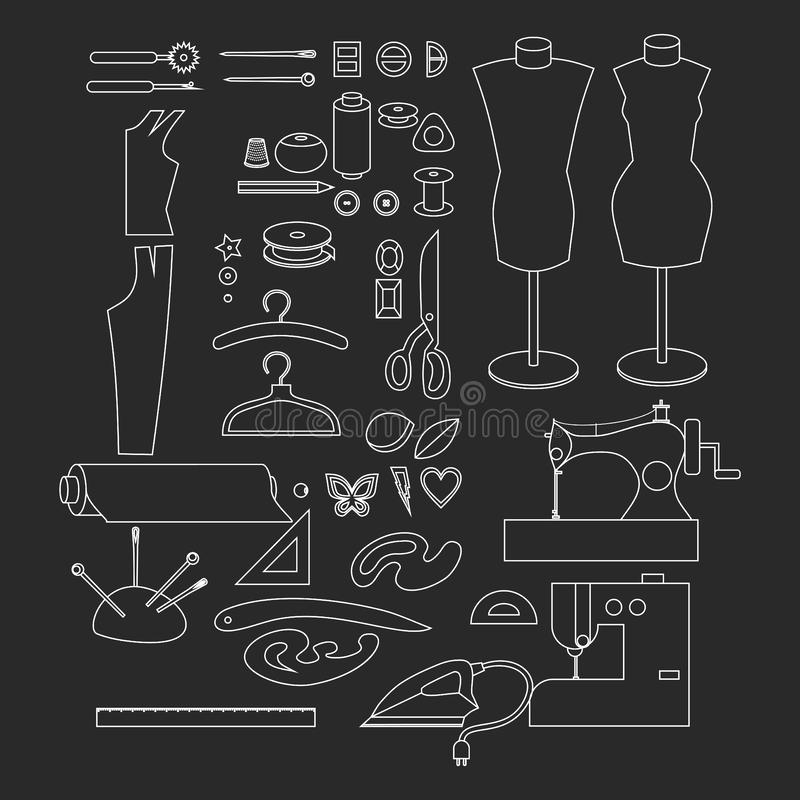 Equipamento de oficina da costura Elementos do projeto da loja do alfaiate do esboço Costurar a costura da indústria utiliza ferr ilustração royalty free