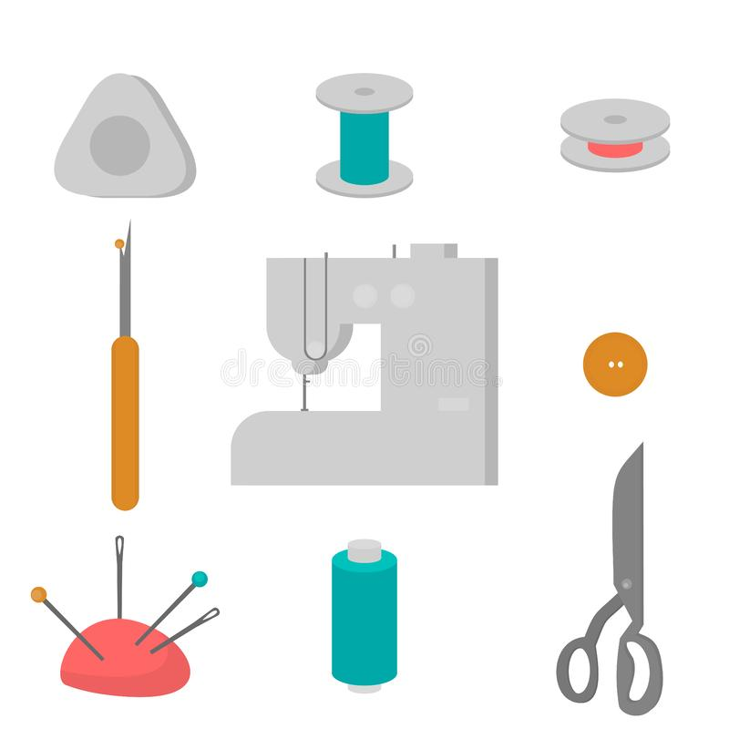 Equipamento de oficina da costura Elementos lisos do projeto da loja do alfaiate Costurar a costura da indústria utiliza ferramen ilustração royalty free