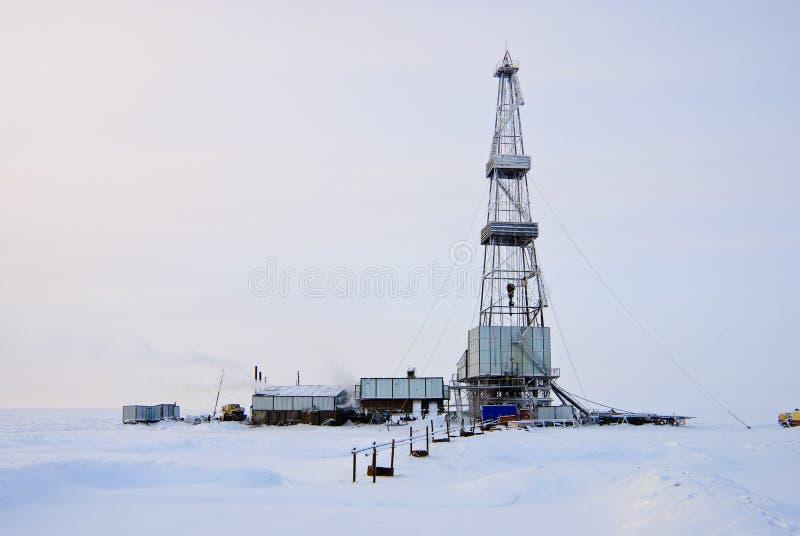Equipamento de perfuração do inverno fotos de stock