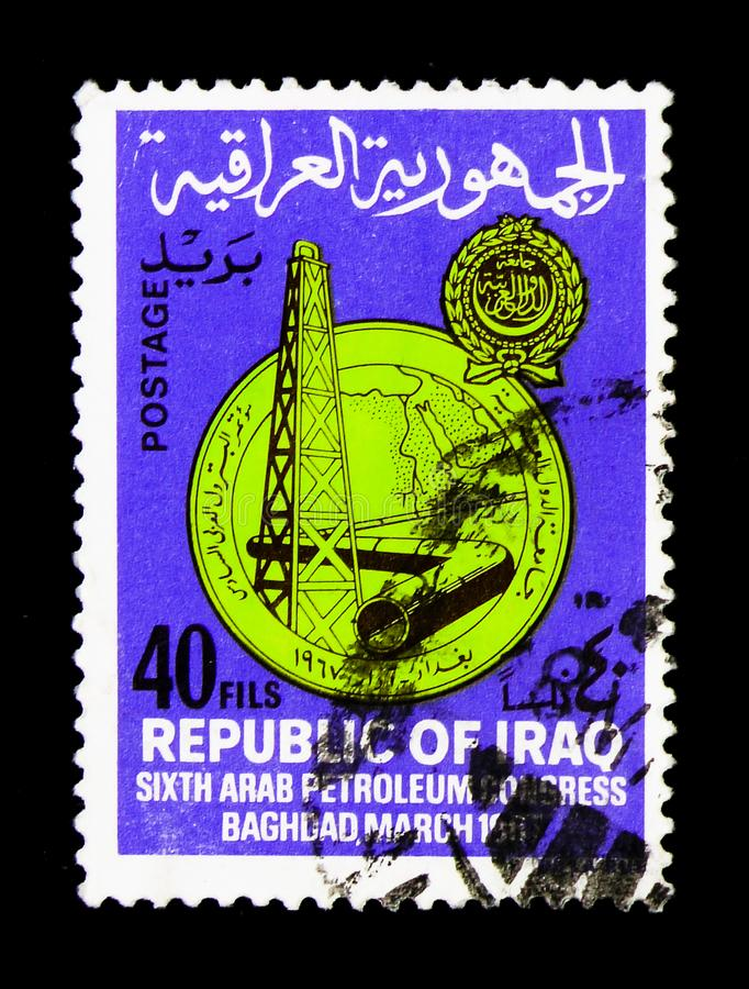 Equipamento de perfuração para a exploração do petróleo, oleoduto, 6o congresso árabe do óleo, serie de Bagdade, cerca de 1967 fotos de stock royalty free