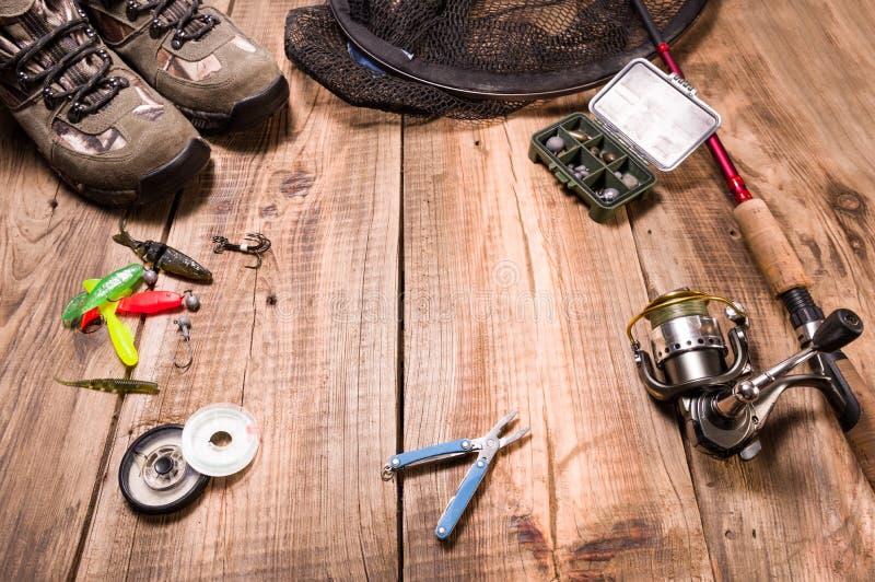 Equipamento de pesca e isca para a pesca do gabarito Isca macia do silicone fotografia de stock royalty free