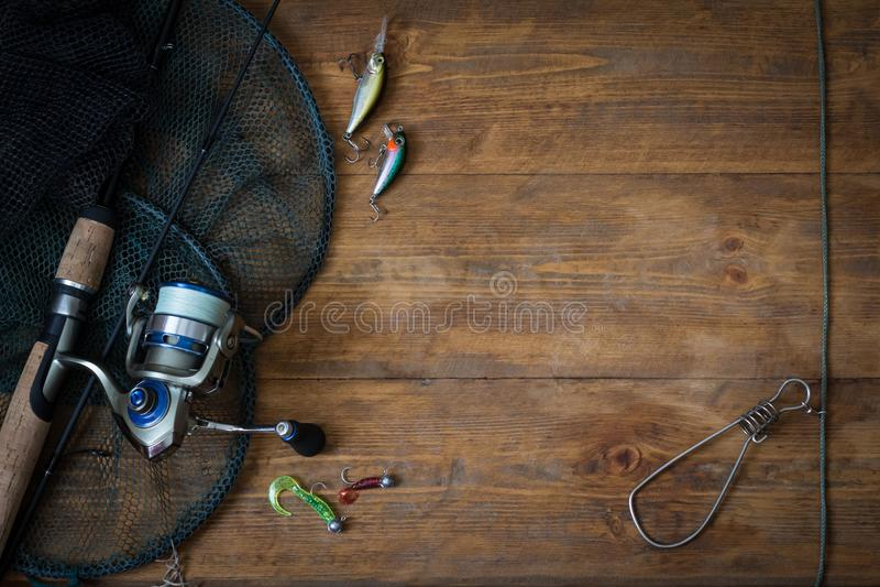 Equipamento de pesca - giro da pesca imagens de stock