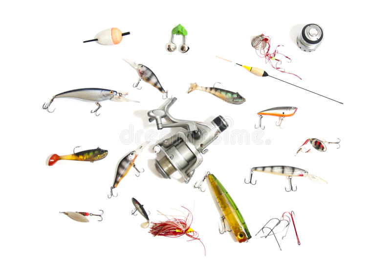 Equipamento de pesca grande do grupo, isolado no branco fotos de stock