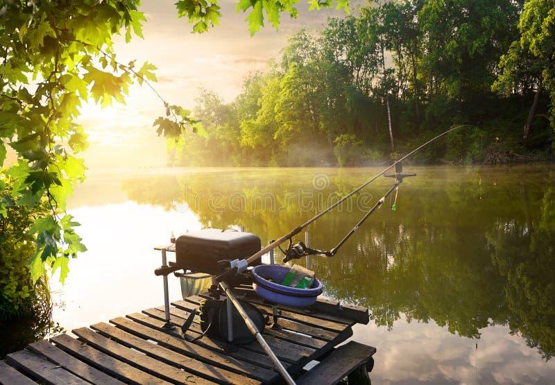 Equipamento de pesca no cais fotos de stock royalty free