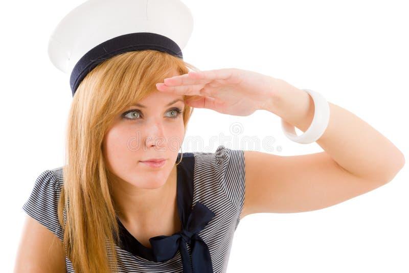 Equipamento de saudação da marinha da mulher marinha nova fotos de stock