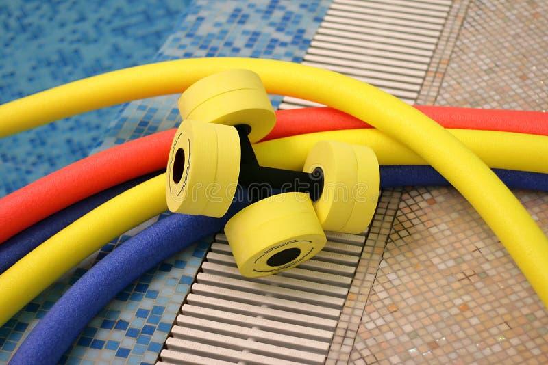 Equipamento do aerobics de água fotografia de stock