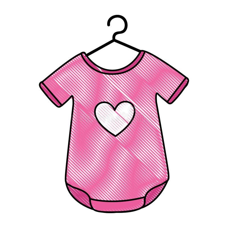 Equipamento do bebê com coração ilustração stock