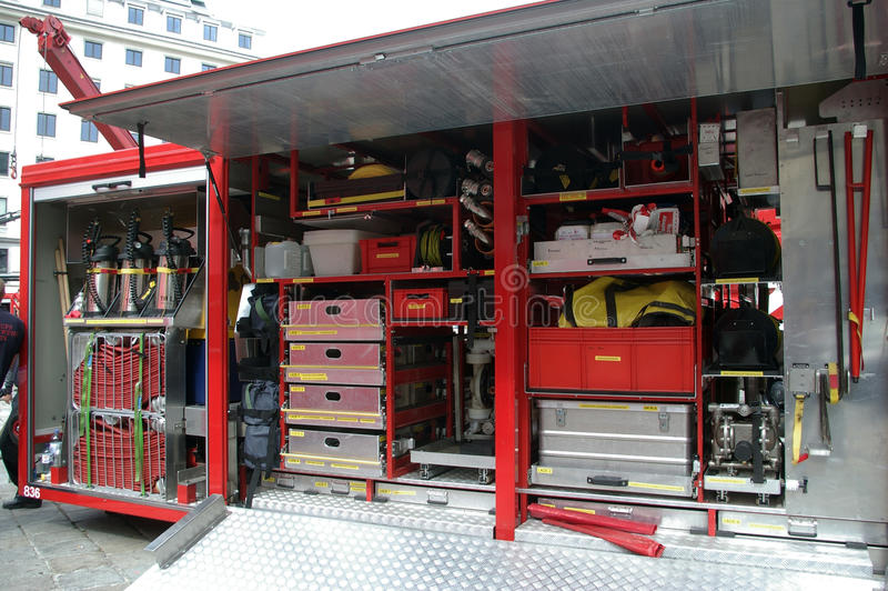 Equipamento do carro de bombeiros. fotografia de stock royalty free