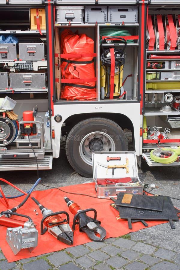 Equipamento do carro de bombeiros imagem de stock