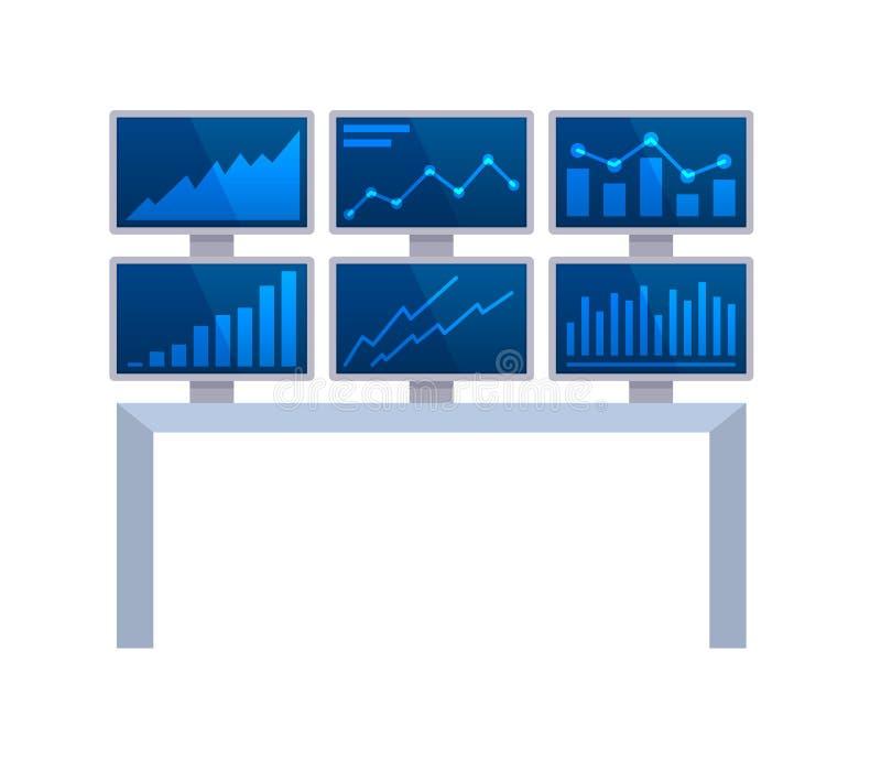 Equipamento do departamento de finança principal e de estatísticas, tecnologia, eletrônica ilustração stock
