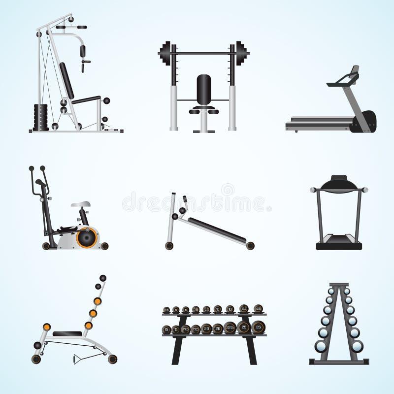 Equipamento do gym da aptidão ilustração stock
