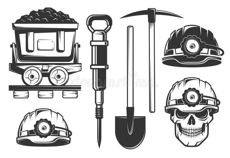 Equipamento do mineiro no estilo retro ilustração stock