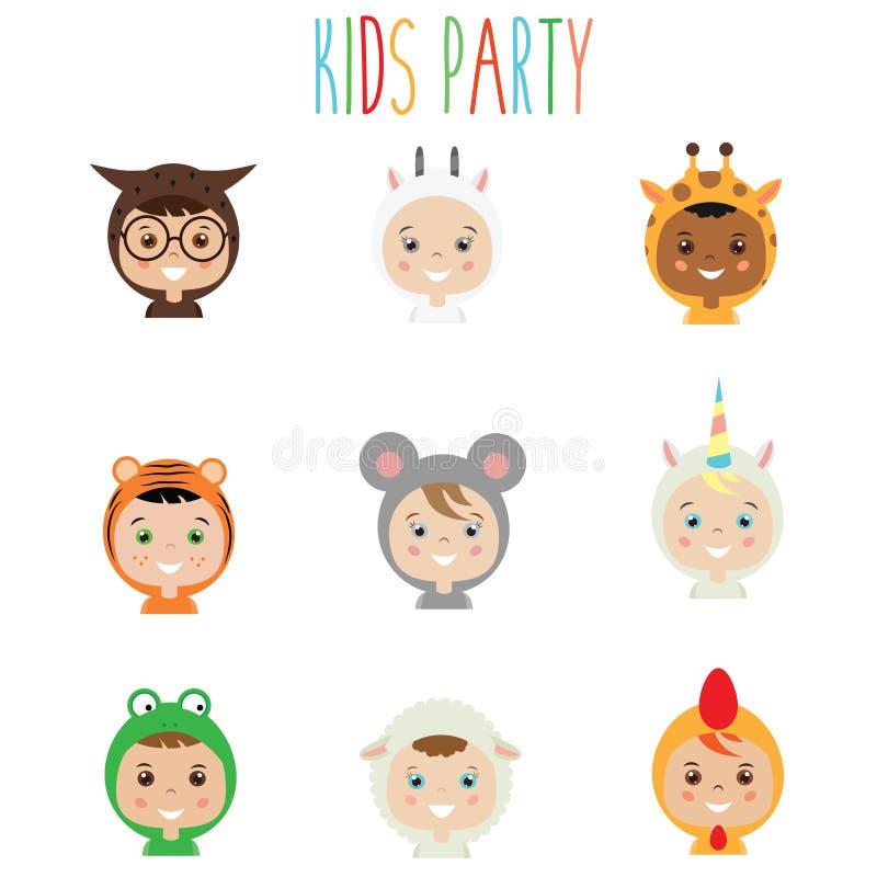 Equipamento do partido das crianças Crianças nos trajes animais do carnaval ilustração do vetor