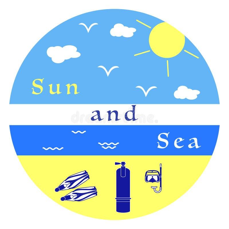 Equipamento do resto do verão para mergulhar ilustração stock