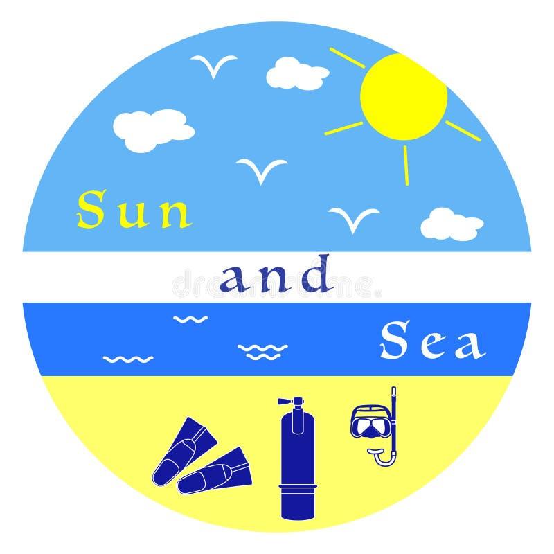 Equipamento do resto do verão para mergulhar ilustração royalty free