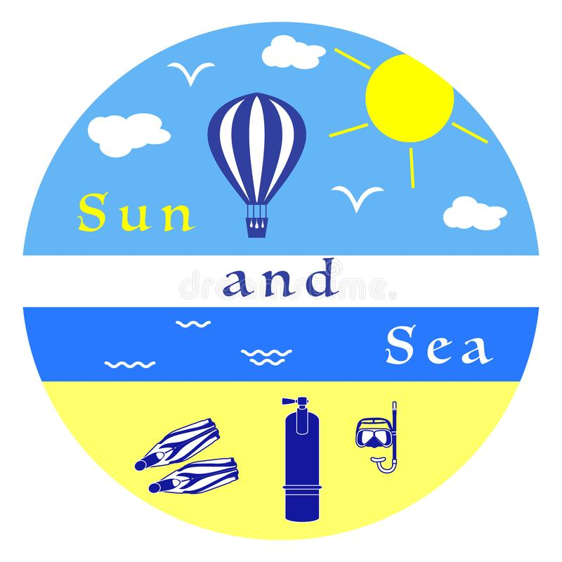 Equipamento do resto do verão para mergulhar Balão de ar ilustração royalty free