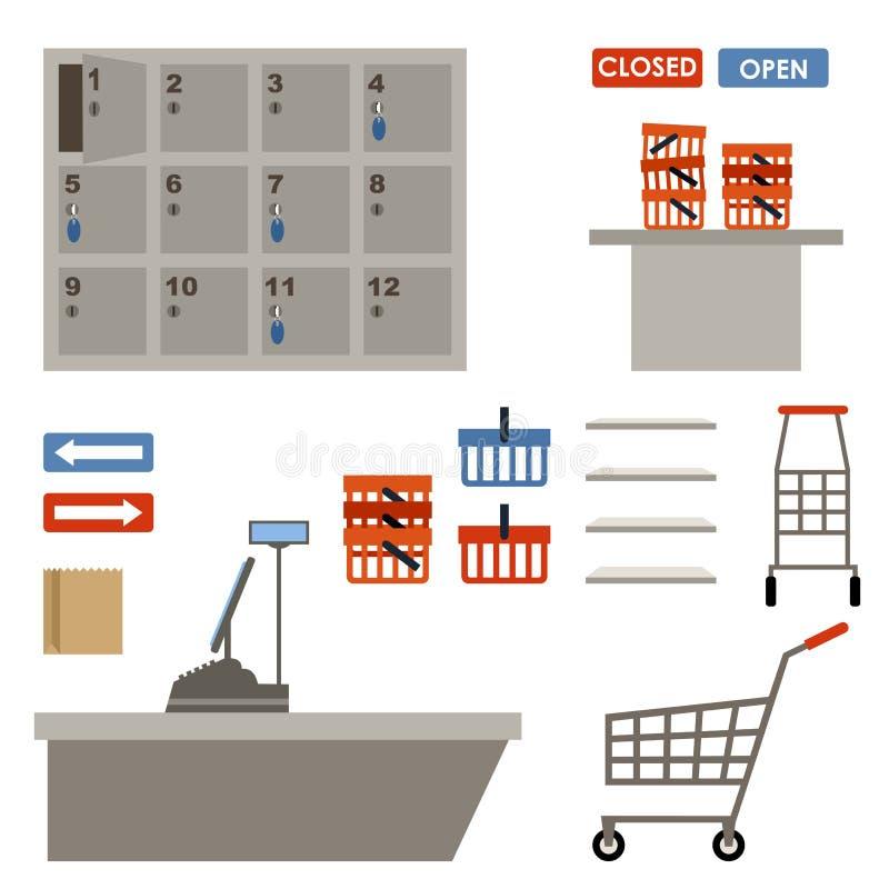 Equipamento do supermercado ilustração royalty free